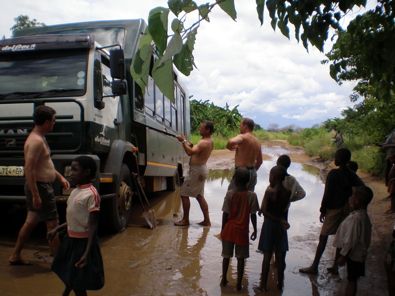 Stuck in the mud on the way to South Luangwa National Park
