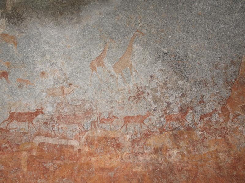 Bushmen paintings, Nswatugi Cave, Matobo Hills